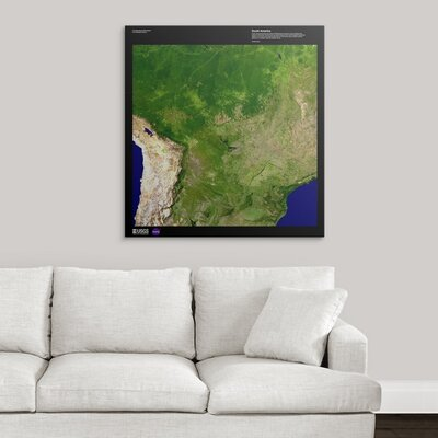 """'South America - USGS Earth' Graphic Art Print Format: White Frame, Size: 21"""" H x 20"""" W x 1"""" D 2405899_21_15x16_none"""