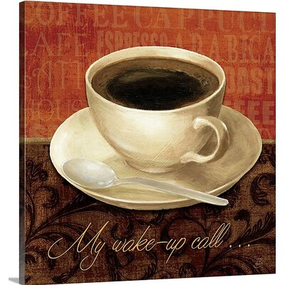 "Coffee Talk II"" by Daphne Brissonnet Graphic Art on Wrapped Canvas Size: 16"" H x 16"" W x 1.5"" D 1051591_1_16x16_none"