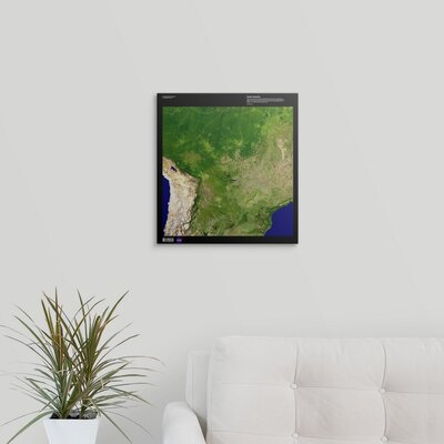 "'South America - USGS Earth' Graphic Art on Wrapped Canvas Size: 16"" H x 15"" W x 1.5"" D 2405899_1_15x16_none"