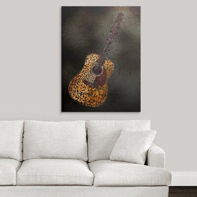 "'Abstract Squares Guitar' by Michael Tompsett Graphic Art Print Size: 21"" H x 17"" W x 1"" D, Format: Black Framed 1018467_15_12x16_none"