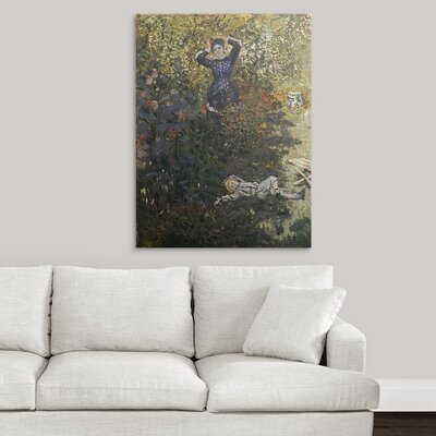 """'Camille and Jean in the Garden at Argenteuil by Claude Monet' Oil Painting Print Size: 21"""" H x 17"""" W x 1"""" D, Format: Black Framed 1036497_15_12x16_none"""