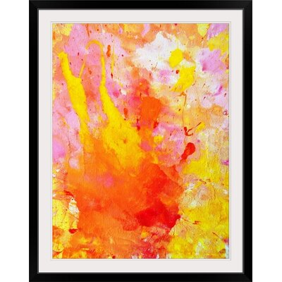 """'Pink and Yellow Abstract Painting Print Format: Black Frame, Size: 41"""" H x 32"""" W x 1"""" D 2341243_15_27x36_none"""