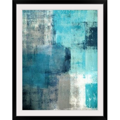 """'Modern Teal and Gray Abstract' Print Format: Black Frame, Size: 21"""" H x 17"""" W x 1"""" D 2341250_15_12x16_none"""