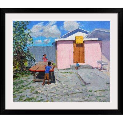 "'Ping Pong De African Queen Hideaway Barbados' by Andrew Macara Painting Print Format: Black Frame, Size: 25"" H x 29"" W x 1"" D 2359980_15_24x20_none"