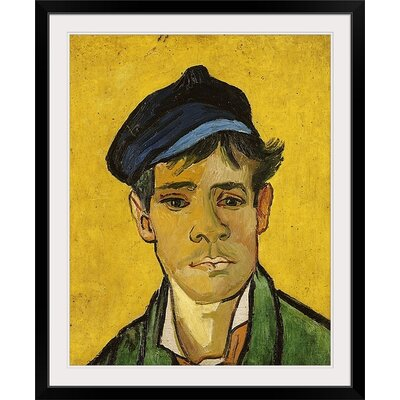 "'Young Man with a Hat, 1888' by Vincent Van Gogh Painting Print Size: 29"" H x 24"" W x 1"" D, Format: Black Framed BAL166546_15_19x24_none"