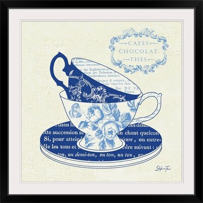 "'Blue Cups II' by Stefania Ferri Vintage Advertisement Size: 21"" H x 21"" W x 1"" D, Format: Black Framed 1166427_15_16x16_none"