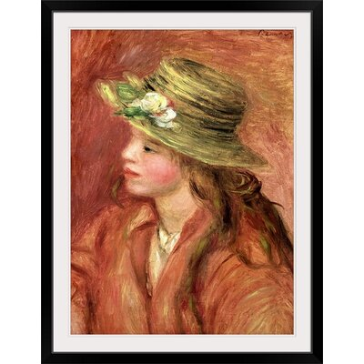 "'Young Girl in a Straw Hat, ca.1908' by Pierre-Auguste Renoir Painting Print Size: 29"" H x 22"" W x 1"" D, Format: Black Framed BAL27903_15_17x24_none"