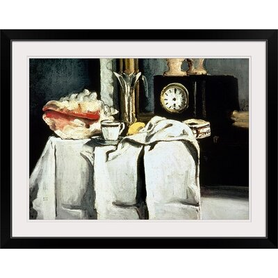 """'The Black Marble Clock, c.1870' by Paul Cezanne Painting Print Size: 22"""" H x 29"""" W x 1"""" D, Format: Black Framed BAL765_15_24x17_none"""