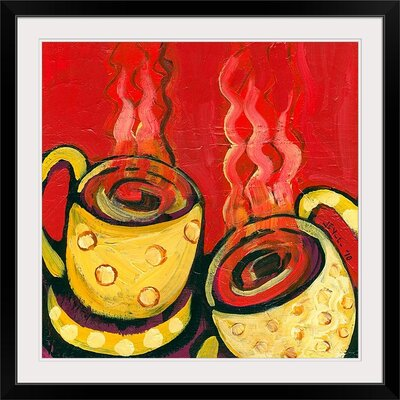 """'A Steaming Romance' by Jennifer Lommers Painting Print Size: 17"""" H x 17"""" W x 1"""" D, Format: Black Framed JL0120104_15_12x12_none"""