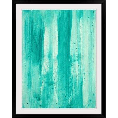"'Modern Dance Aqua Passion' by Megan Duncanson Painting Print Size: 41"" H x 32"" W x 1"" D, Format: Black Framed 1162140_15_27x36_none"