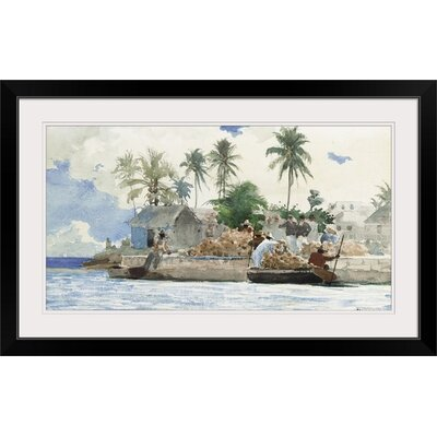 """'Sponge Fisherman, Bahamas' by Winslow Homer Painting Print Size: 21"""" H x 35"""" W x 1"""" D, Format: Black Framed 1161483_15_30x16_none"""