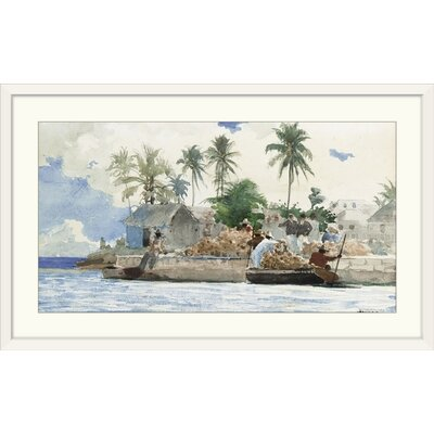 """'Sponge Fisherman, Bahamas' by Winslow Homer Painting Print Size: 24"""" H x 41"""" W x 1"""" D, Format: White Framed 1161483_21_36x19_none"""