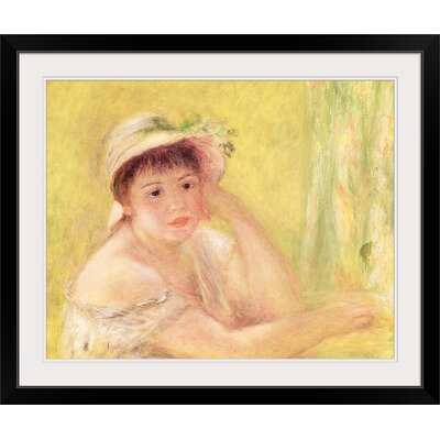 "'Woman in a Straw Hat' Oil Painting Print Size: 17"" H x 20"" W x 1"" D, Format: Black Framed BAL206419_15_15x12_none"