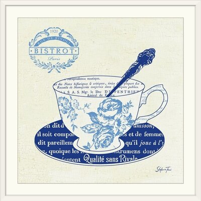 """'Blue Cups I' by Stefania Ferri Vintage Advertisement Size: 17"""" H x 17"""" W x 1"""" D, Format: White Framed 1166426_21_12x12_none"""