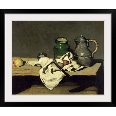 "'Still Life with a Kettle, c.1869' by Paul Cezanne Painting Print Size: 21"" H x 25"" W x 1"" D, Format: Black Framed BAL197271_15_20x16_none"