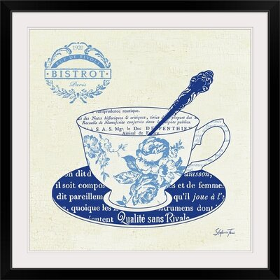 "'Blue Cups I' by Stefania Ferri Vintage Advertisement Size: 21"" H x 21"" W x 1"" D, Format: Black Framed 1166426_15_16x16_none"