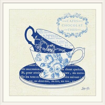 "'Blue Cups II' by Stefania Ferri Vintage Advertisement Size: 17"" H x 17"" W x 1"" D, Format: White Framed 1166427_21_12x12_none"