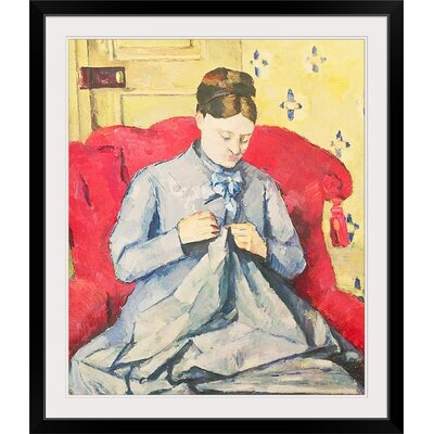 "'Madame Cezanne Sewing' by Paul Cezanne Painting Print Size: 29"" H x 25"" W x 1"" D, Format: Black Framed BAL21638_15_20x24_none"