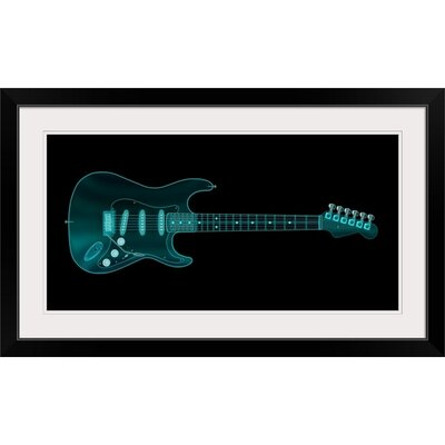 "'Guitar X-ray' by Michael Tompsett Painting Print Size: 17"" H x 29"" W x 1"" D, Format: Black Framed 1057334_15_24x12_none"