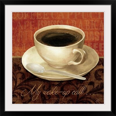 "Coffee Talk II"" by Daphne Brissonnet Graphic Art on Wrapped Canvas Size: 17"" H x 17"" W x 1"" D, Format: Black Framed 1051591_15_12x12_none"
