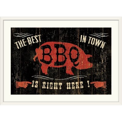 "'The Best BBQ in Town Vintage Advertisement Format: White Frame, Size: 21"" H x 29"" W x 1"" D 2219132_21_24x16_none"