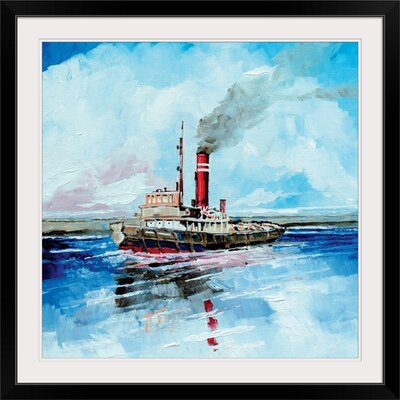 "'Steamer II' by Stuart Roy Painting Print Format: Black Frame, Size: 17"" H x 17"" W x 1"" D 2399823_15_12x12_none"