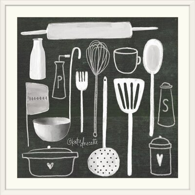 "'Kitchen Utensils' by Katie Doucette Graphic Art Print Format: White Frame, Size: 29"" H x 29"" W x 1"" D 2399919_21_24x24_none"