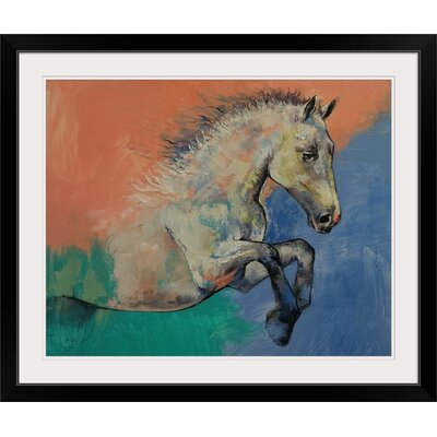 "'Graceful Jets Horse Portrait' by Michael Creese Painting Print Format: Black Frame, Size: 17"" H x 20"" W x 1"" D 2386966_15_15x12_none"