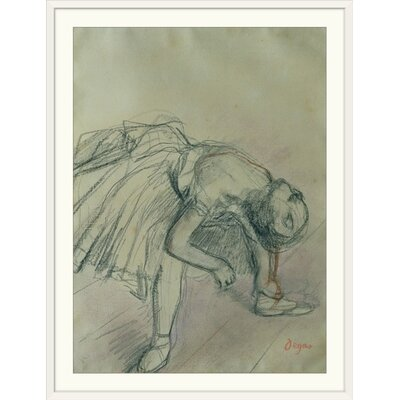"""'Dancer Fixing Her Slipper, c.1865' by Edgar Degas Painting Print Format: White Frame, Size: 35"""" H x 27"""" W x 1"""" D 2305464_21_22x30_none"""