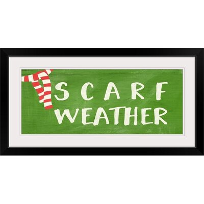 """'Christmas Art 'Scarf Weather' by Linda Woods Textual Art Format: Black Frame, Size: 19"""" H x 41"""" W x 1"""" D 2386046_15_36x14_none"""