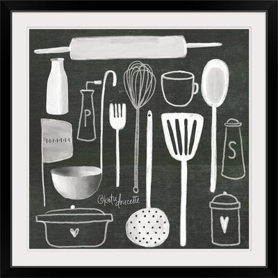 "'Kitchen Utensils' by Katie Doucette Graphic Art Print Format: Black Frame, Size: 17"" H x 17"" W x 1"" D 2399919_15_12x12_none"