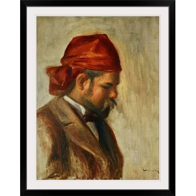 """'Portrait of Ambroise Vollard in a Red Scarf (Art Dealer) 1899' by Pierre-Auguste Renoir Painting Print Format: Black Frame, Size: 21"""" H x 17"""" W x 1"""" D 2382203_15_12x16_none"""