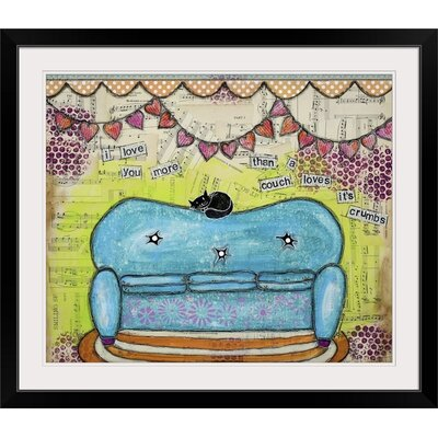 """'Couch Loves Its Crumbs' by Denise Braun Painting Print Format: Black Frame, Size: 30"""" H x 35"""" W x 1"""" D 2330174_15_30x25_none"""