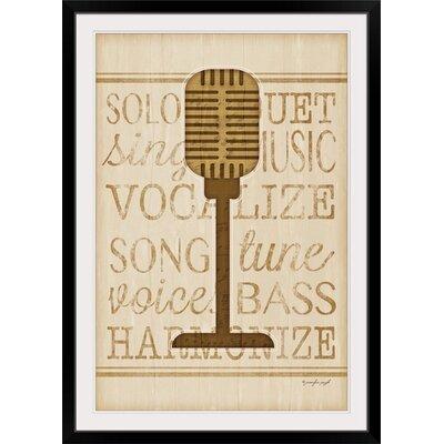 "'Music Microphone' by Jennifer Pugh Graphic Art Print Format: Black Frame, Size: 23"" H x 17"" W x 1"" D 2399850_15_12x18_none"
