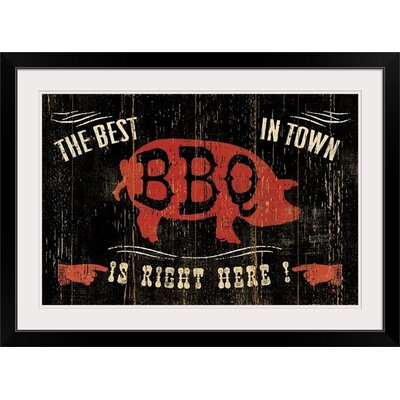 "'The Best BBQ in Town Vintage Advertisement Format: Black Frame, Size: 17"" H x 23"" W x 1"" D 2219132_15_18x12_none"