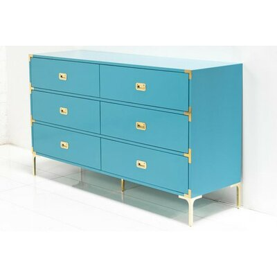 Jet Setter 6 Drawer Double Dresser Color: Turquoise