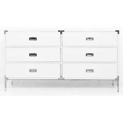 Jet Setter 6 Drawer Double Dresser Color: White