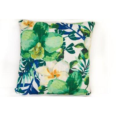 Tropical Flower Linen Throw Pillow