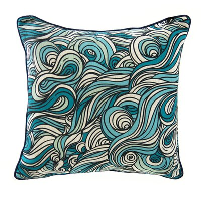 Swirls Linen Throw Pillow Color: Blue