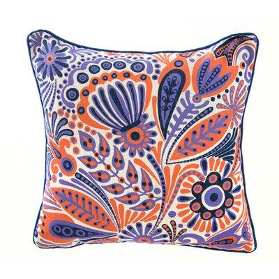 Floral Linen Throw Pillow Color: Purple/Orange