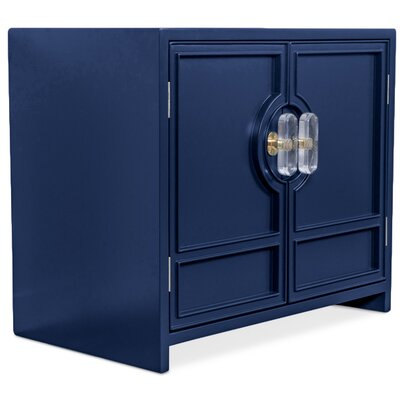 Cannes End Table with Storage Color: Navy