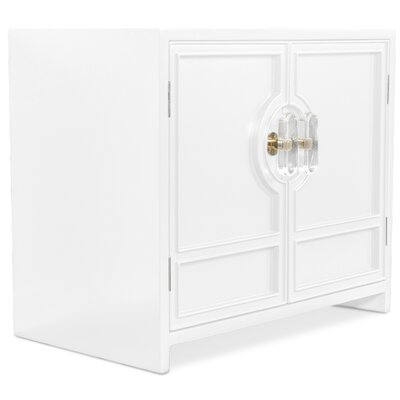 Cannes End Table with Storage Color: White