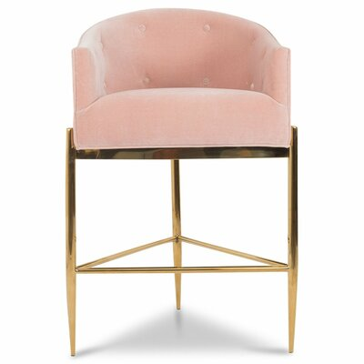 Art Deco 30 Bar Stool Upholstery: Blush Pink