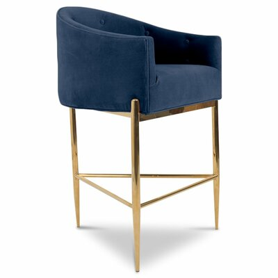 Art Deco 30 Bar Stool Upholstery: Indigo Blue