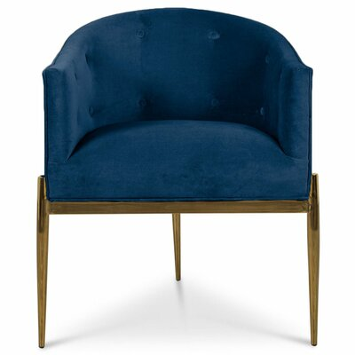 Art Deco Upholstered Dining Chair Upholstery: Indigo Blue