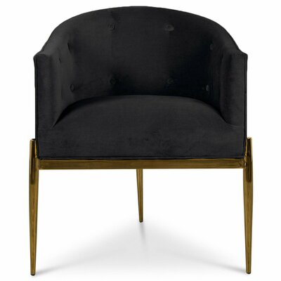 Art Deco Upholstered Dining Chair Upholstery: Black