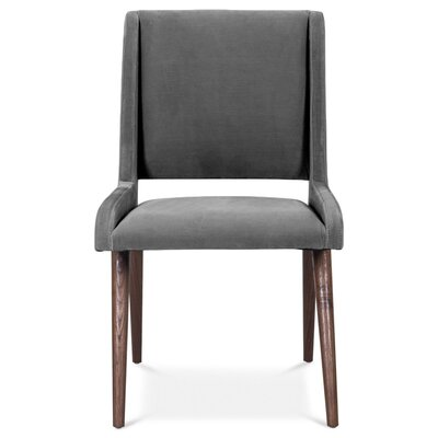 Mid Century Upholstered Dining Chair Upholstery Color: Dark Gray, Leg Color: Dark Walnut