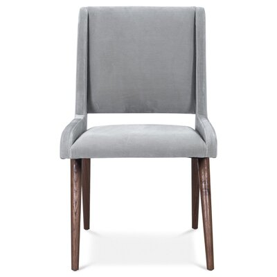 Mid Century Upholstered Dining Chair Upholstery Color: Sharkskin, Leg Color: Light Walnut
