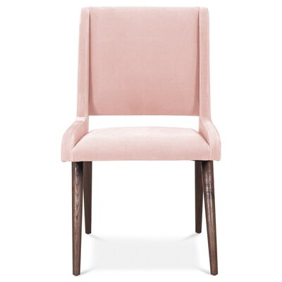 Mid Century Upholstered Dining Chair Upholstery Color: Blush Pink, Leg Color: Light Walnut