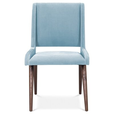 Mid Century Upholstered Dining Chair Upholstery Color: Capri Blue, Leg Color: Light Walnut